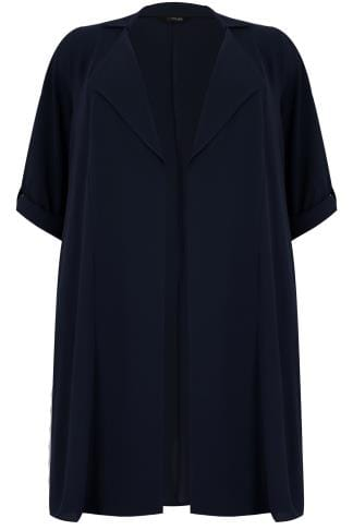 Coats Navy Lightweight Duster Jacket With Waterfall Front & Roll-Up Sleeves 134305