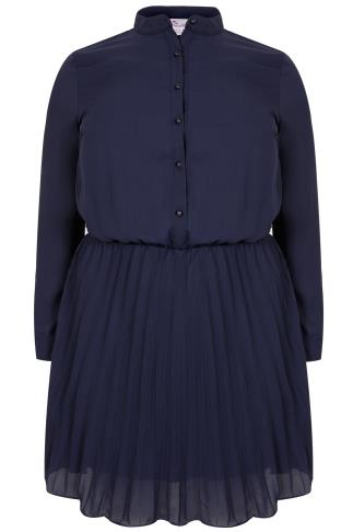 PRASLIN Navy Long Sleeve Button Up Dress With Pleated Skirt