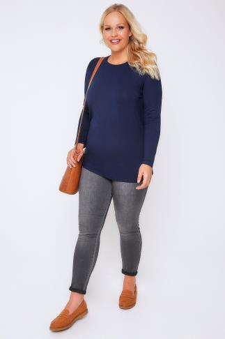 Day Tops Navy Long Sleeve Soft Jersey Basic Top 102691