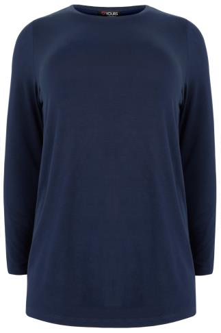 Navy Long Sleeve Soft Jersey Basic Top