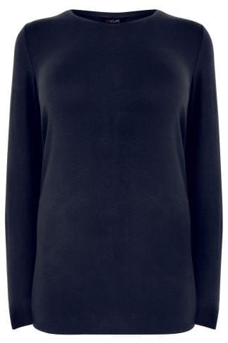 Navy Long Sleeve Soft Touch Jersey Top