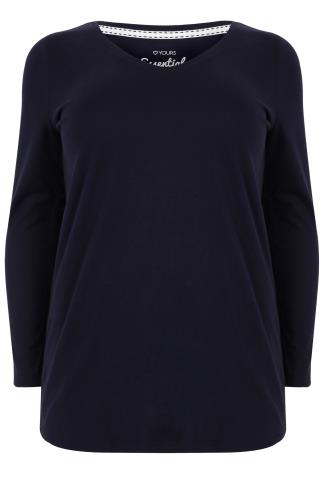 Navy Long Sleeved V-Neck Basic T-Shirt