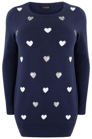 Navy Longline Knitted Jumper With Sequin Heart Pattern