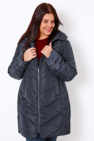 Navy Longline Quilted Puffer Jacket With Invisible Hood
