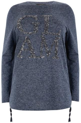 Navy Marl Sequin 'Glam' Fine Knit Top With Long Sleeves