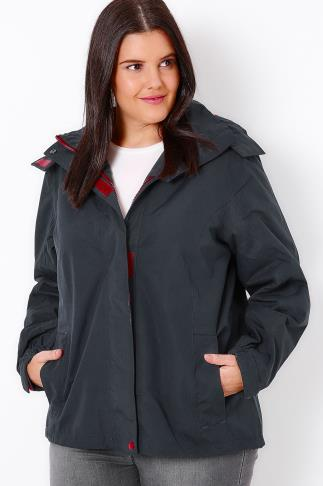 Waterproof & Shower Resistant Navy & Maroon Waterproof Rain Jacket With Removable Hood 101498