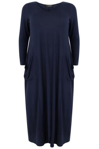 Navy Maxi Dress With Long Sleeves & Drop Pockets