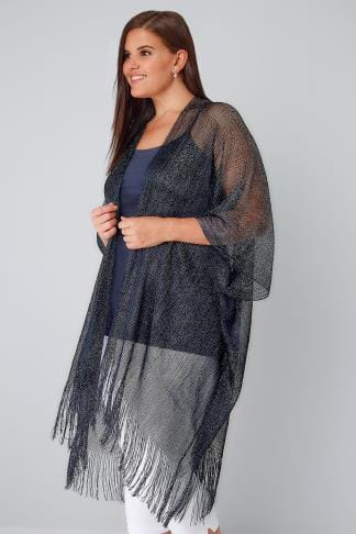 Navy Metallic Longline Kimono With Fringed Hem 134061
