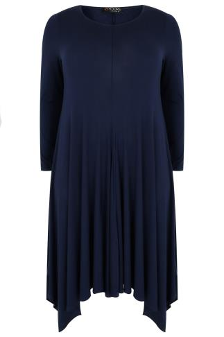 Navy Midi Dress With Hanky Hem