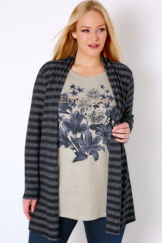 "Navy & Multi 2 In 1 Stripe Cardigan & ""Endless Love"" Top 132124"