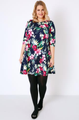 Navy & Multi Bright Floral Print Textured Swing Dress With Half Sleeves