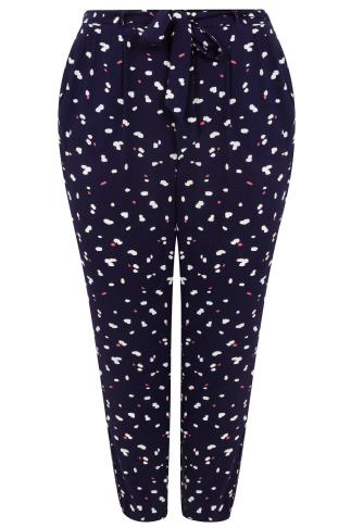 Navy & Multi Dotted Tapered Trousers With Tie Waist