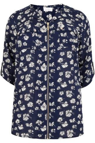 Chemisiers Navy & Multi Floral Print Blouse With Zip Front 156220