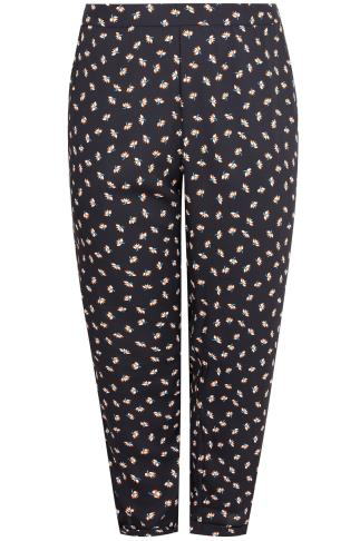 Navy & Multi Floral Print Crepe Relaxed Fit Harem Trousers