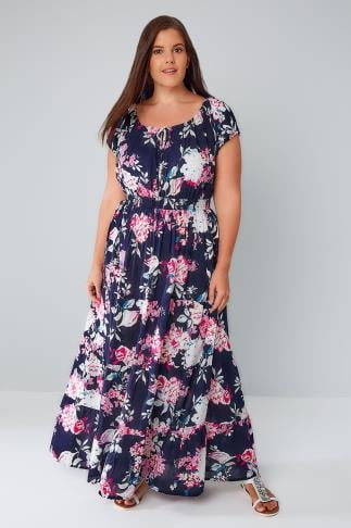 Navy & Multi Floral Print Sequin Gypsy Maxi Dress 136053