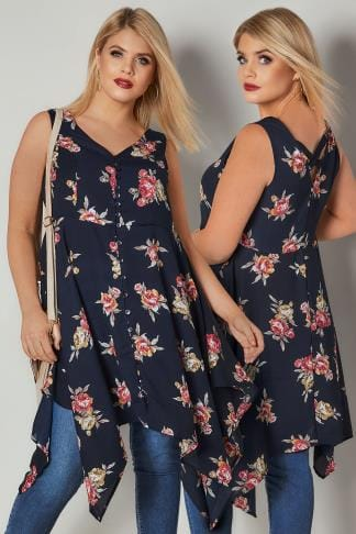 Longline Tops Navy & Multi Floral Print Sleeveless Top With Cross Over Back & Hanky Hem 170369
