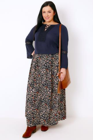 Maxi Skirts Navy & Multi Floral Print Vintage Maxi Skirt With Button Close 103032