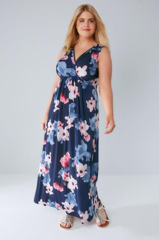 Navy & Multi Floral Print Wrap Maxi Dress 136060