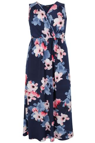 Navy & Multi Floral Print Wrap Maxi Dress