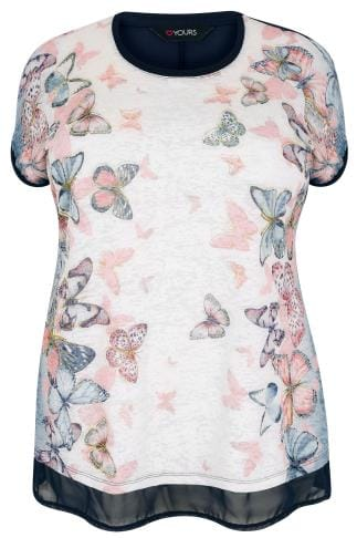 Navy & Multi Glitter Butterfly Print Top