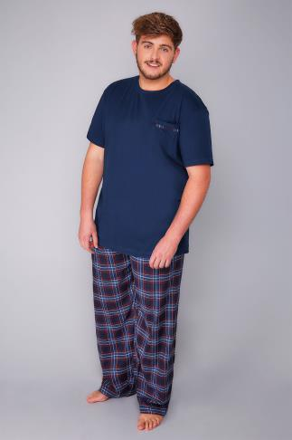 Navy & Multi Loungewear Set With Checked Bottoms
