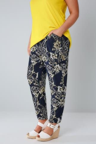Tapered & Slim Fit Trousers Navy & Multi Paisley Print Batik Tapered Leg Trouser 144006