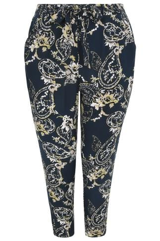 Navy & Multi Paisley Print Batik Tapered Leg Trouser