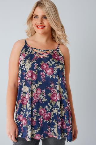 Vests & Camis Navy & Multi Rose Print V-Neck Cami Vest Top With Cross Front Detail 170265