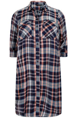 Navy, Orange & Multi Checked Longline Duster Shirt