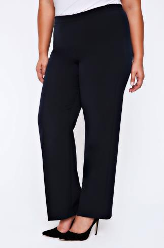 Navy Pablo Trouser With Elasticated Back - PETITE