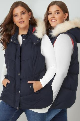 Gilets & Waistcoats Navy Padded Gilet With Faux Fur Hood & Checked Lining 120078