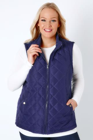 Navy Padded Gilet With Quilted Stitch Detail & Popper Button Pockets 120002
