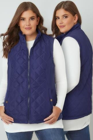 Gilets & Waistcoats Navy Padded Gilet With Quilted Stitch Detail & Popper Button Pockets 120002