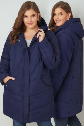 Puffer & Quilted Jackets Navy Padded Puffer Jacket With Hood 120017