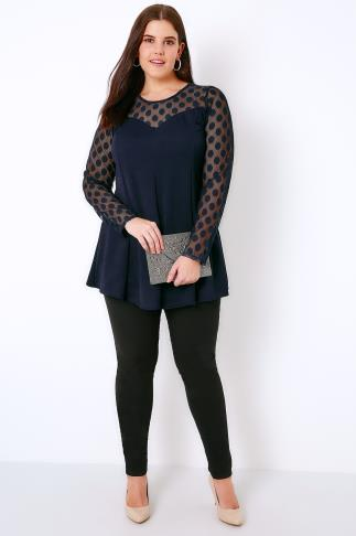 Navy Peplum Top With Polka Dot Mesh Sleeves 156073