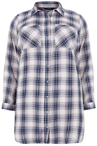 Navy & Pink Checked Longline Shirt With Pockets