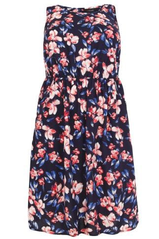 Navy & Pink Floral Pocket Dress With Elasticated Waistband