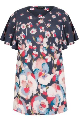 Navy & Pink Floral Poppy Jersey Top With Angel Sleeves