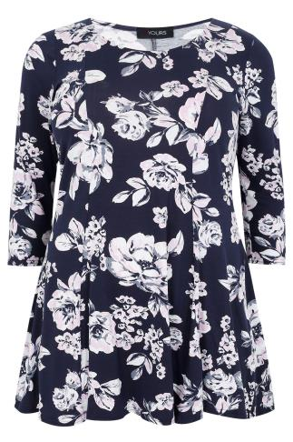 Navy & Pink Floral Print Longline Peplum Top With Long Sleeves