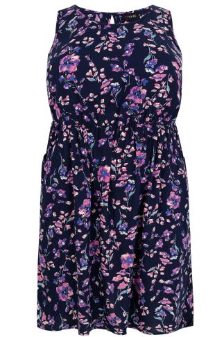 Navy & Pink Floral Print Sleeveless Dress With Pockets
