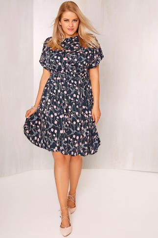 Skater Dresses Navy, Pink & Grey Floral Print Skater Dress 101178