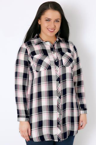 Navy, Pink & White Checked Boyfriend Shirt With Chest Pockets