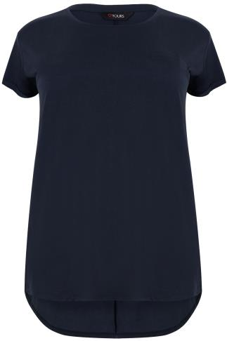 Navy Pocket Detail T-Shirt With Dipped Hem