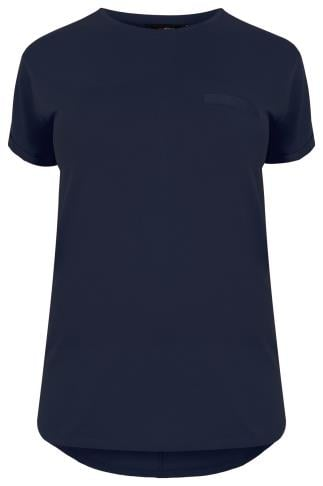 Navy Pocket T-Shirt With Curved Hem