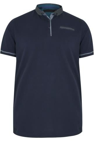 Navy Polo Shirt With Contrast Polka Dot Collar & Pocket Trim