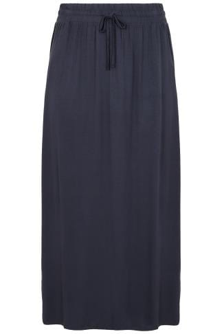 Navy Pull On Maxi Skirt With Side Splits