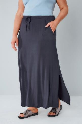 Maxi Skirts Navy Pull On Maxi Skirt With Side Splits 160021