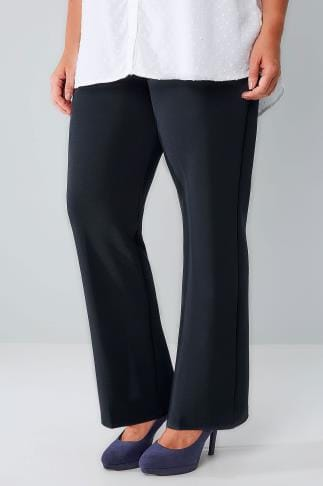 Bootcut Trousers Navy Pull On Ribbed Bootcut Trousers 140004