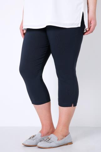 Cropped Trousers Navy Pull On Stretch Cropped Trousers 144031