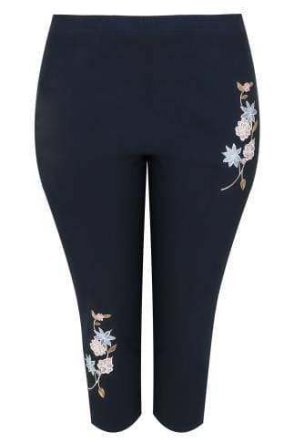 Navy Pull On Stretch Cropped Trousers With Floral Embroidery Detail